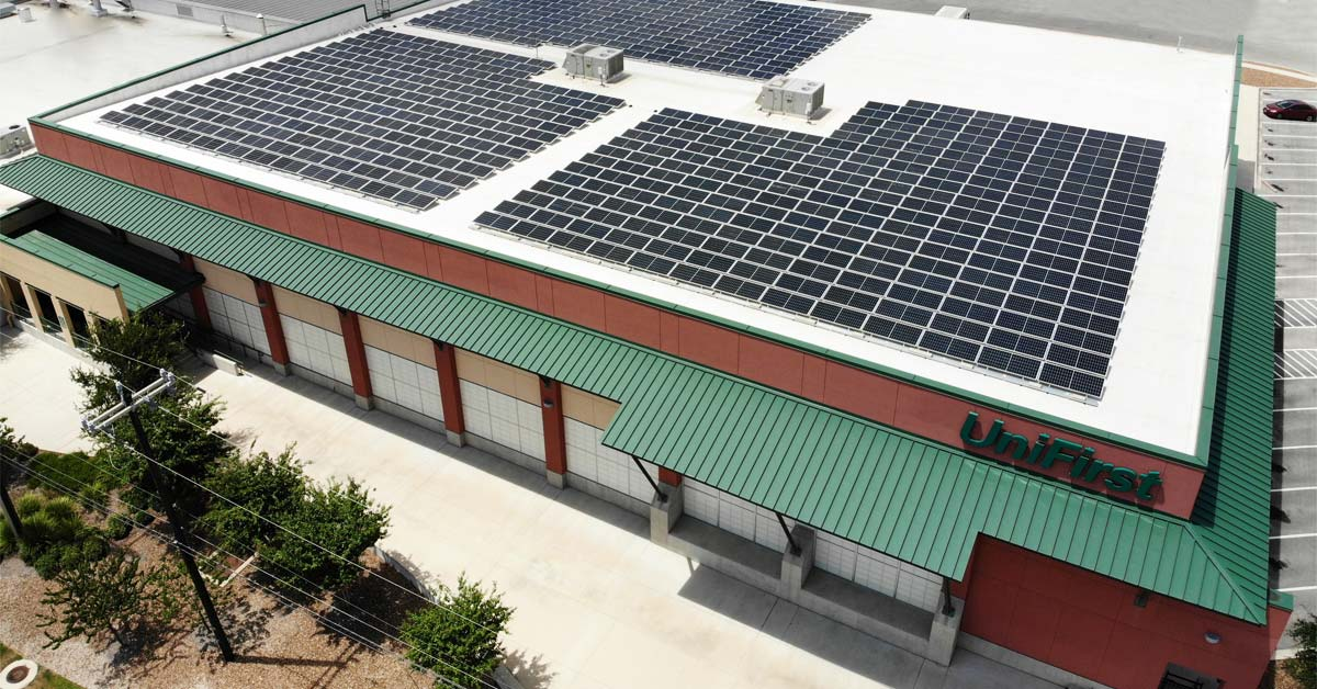 The UniFirst industrial laundry facility in San Antonio, Texas, has begun producing solar power with the recent installation of 612 high-efficiency solar panels expected to generate more than $25,000 in energy savings in its first year of operation.