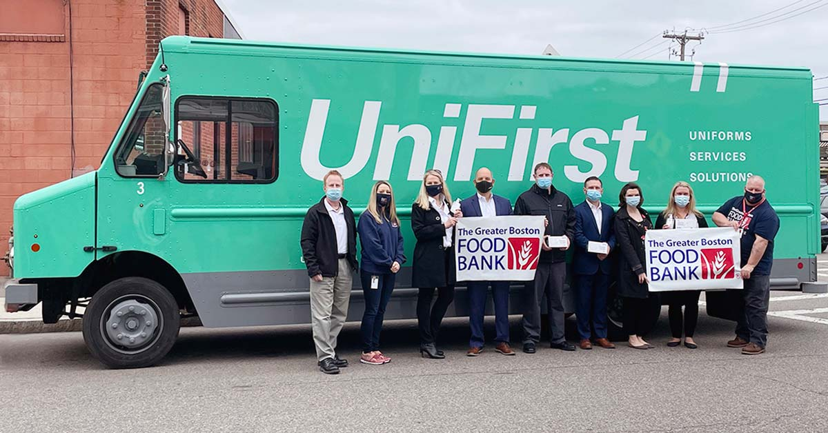 UniFirst donating PPE to the Greater Boston Food Bank