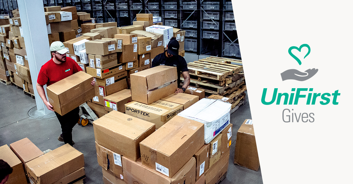 UniFirst distribution center staff pack thousands of garments to donate to United Way