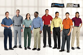 Employees wearing a variety of UniFirst color branded uniforms