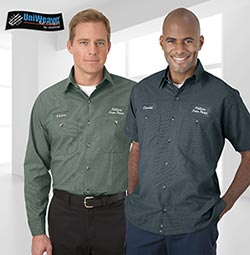 Employees wearing custom branded uniforms