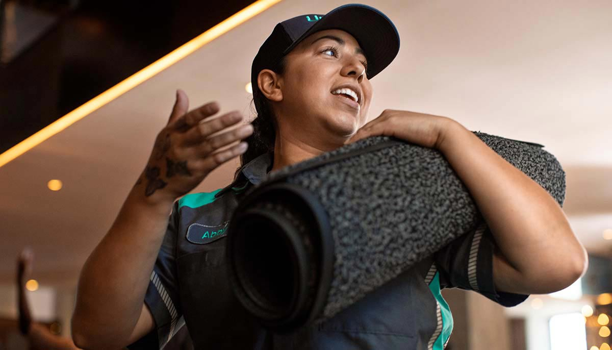 Facilities service products including floor mats and soap dispensers