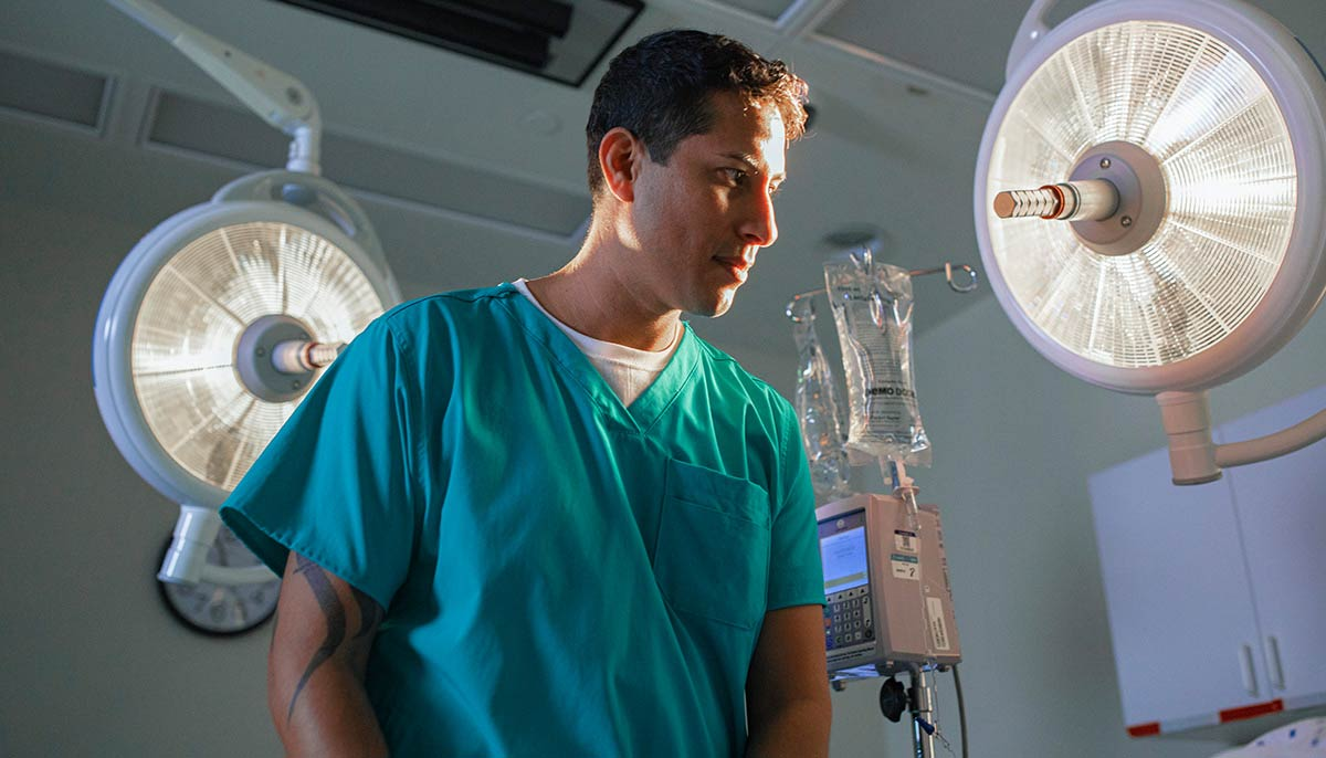 Doctors and nurses wearing medical scrubs