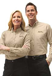Employees wearing company uniforms